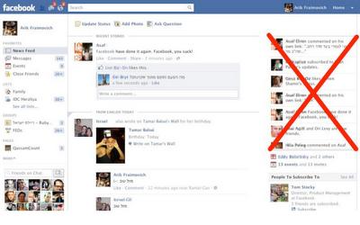 Como quitar la nueva barra de noticias de Facebook